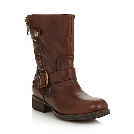 Call It Spring - Brown +salac+ mid heeled biker boots