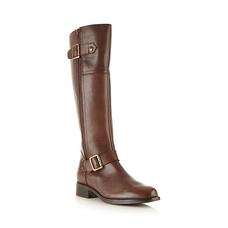 Call It Spring - Brown leather +Bartova+ knee buckle mid heel boots