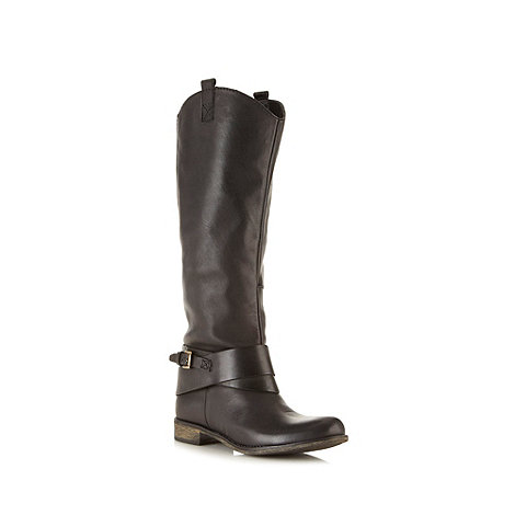Call It Spring - Black leather +Gloser+ knee buckle low heel boots