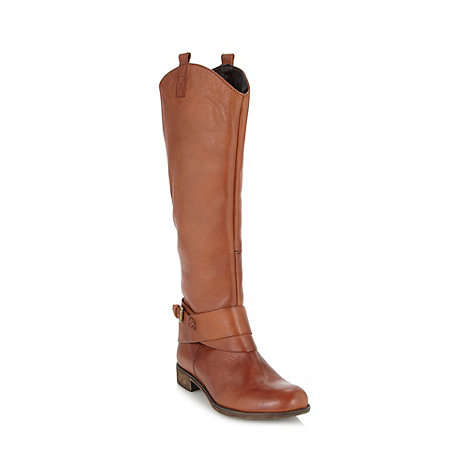 Call It Spring - Tan leather +Gloser+ knee buckle low heel boots