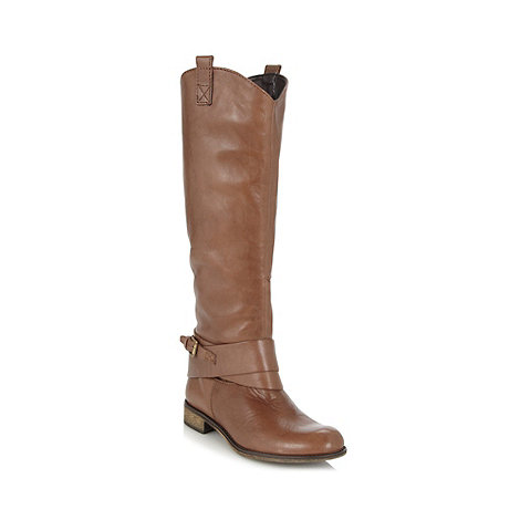 Call It Spring - Brown leather +Gloser+ knee buckle low heel boots
