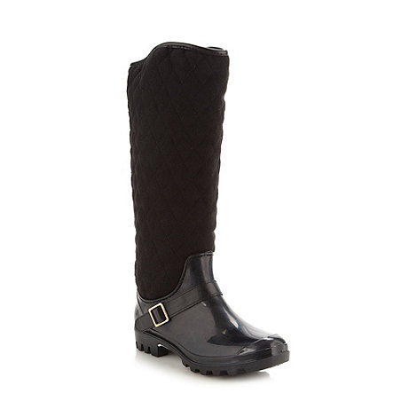 Call It Spring - Black +Loncar+ quilted knee welly low heel boots