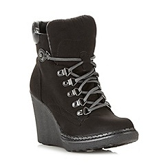 Call It Spring - Black 'Con' high wedge boot