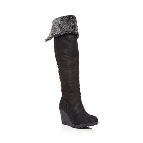 Call It Spring - Black +Eveline+ fleece lined high wedge boots