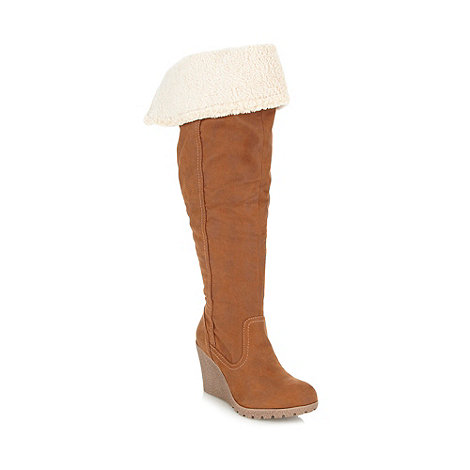 Call It Spring - Tan +Eveline+ fleece lined high wedge boots