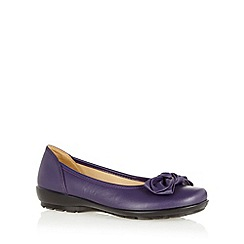 Hotter - Purple leather large bow trim pumps
