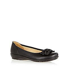 Hotter - Black leather knotted bow trim shoes