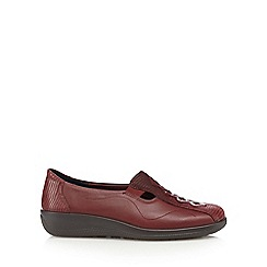 Hotter - Maroon 'Calypso' leather slip-on shoes
