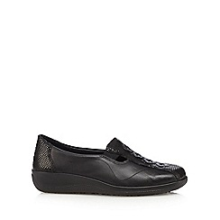 Hotter - Black leather stitched diamond slip on shoes