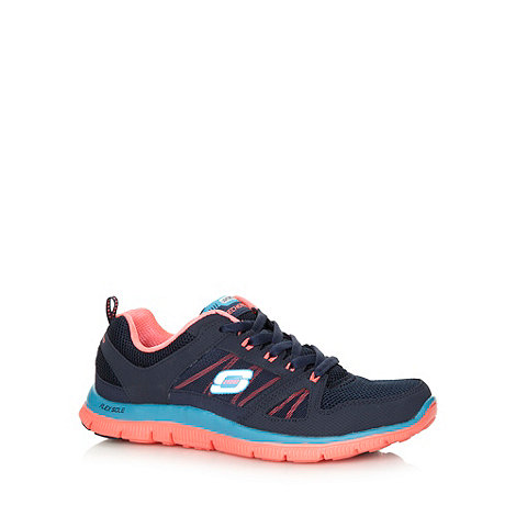 Skechers - Navy +Flex Appeal - Spring+ lace up memory foam trainers