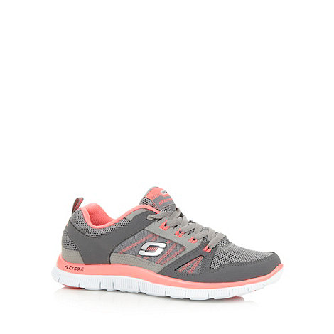 Skechers - Dark grey +Flex Appeal - Spring+ lace up memory foam trainers