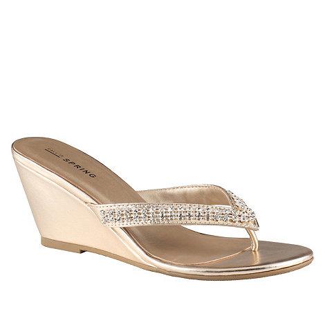 Call It Spring - Gold diamante +Therraria+ high wedge heel flip flops