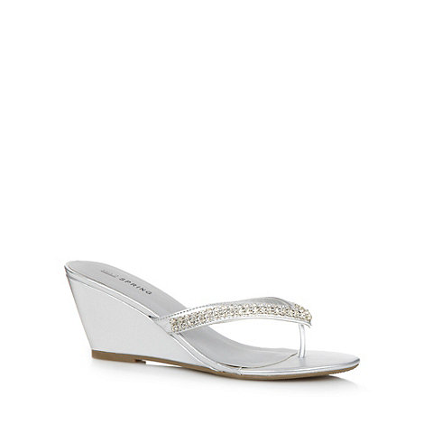 Call It Spring - Silver diamante +Therraria+ wedge sandals
