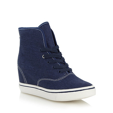 Call It Spring - Navy +Pitigliana+ wedge heel trainers