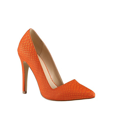Call It Spring - Orange metallic +Seveven+ fish scales textured court shoes