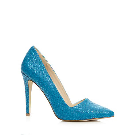 Call It Spring - Blue metallic +Seveven+ fish scales textured court shoes
