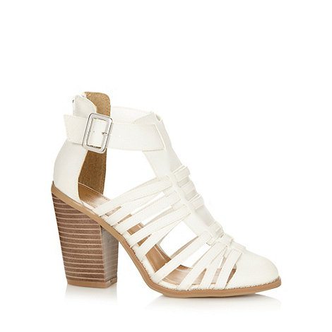 Call It Spring - White +Cadatim+ high heeled gladiator strap sandals