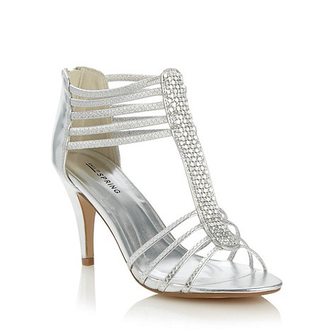 Call It Spring - Silver +Handlesman+ strap heeled sandals