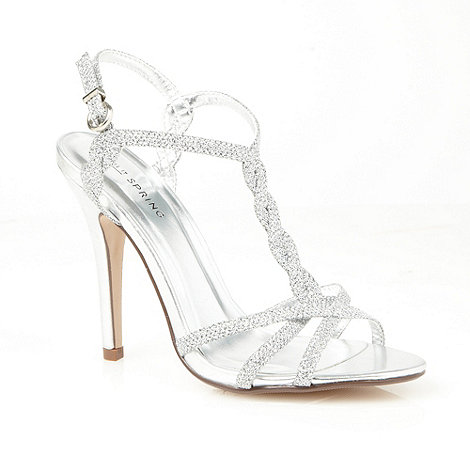 Call It Spring - Silver T-bar +Vignatico+ glitter heeled sandal