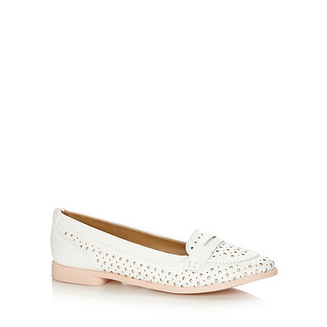 Call It Spring - White +Moule+ punched hole loafer