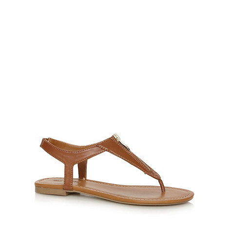 Call It Spring - Tan +Faltys+ zip detail toe post sandals