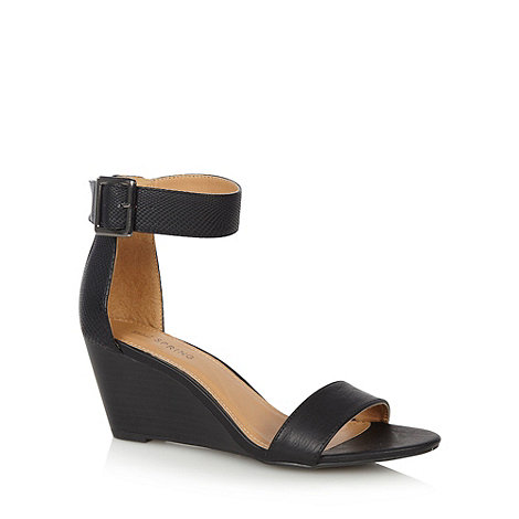 Call It Spring - Black +Toffanelle+ mid wedge sandals