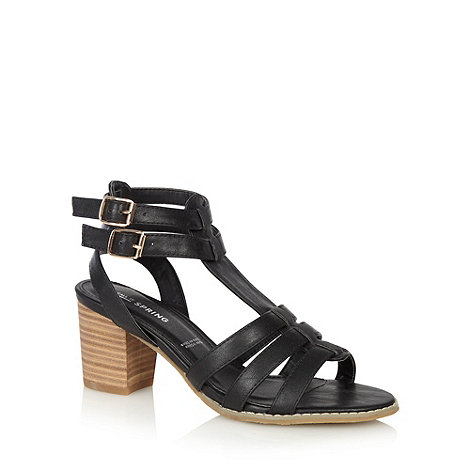 Call It Spring - Black gladiator +Cerrida+ strap mid block heeled sandals