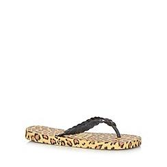 Gandys - Yellow leopard print flip flops