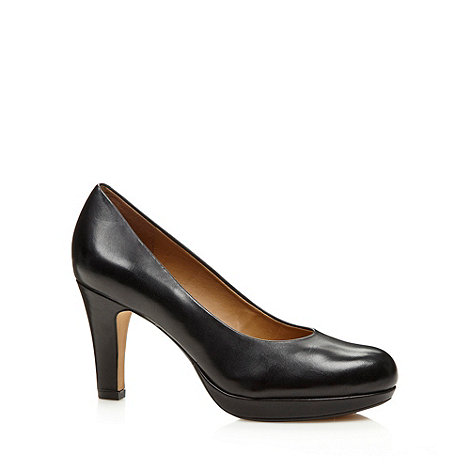 Clarks - Black 'Anika Kendra' leather E wider fit court shoes