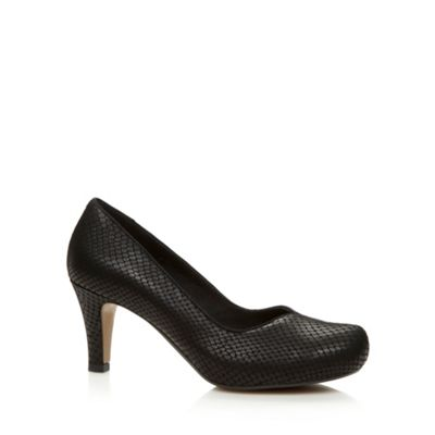 Clarks Black ´Chorus Voice´ snakeskin leather E wider fit court shoes - . -