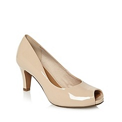 Clarks - Natural leather 'Chorus Sing' mid heel peep toe court shoes