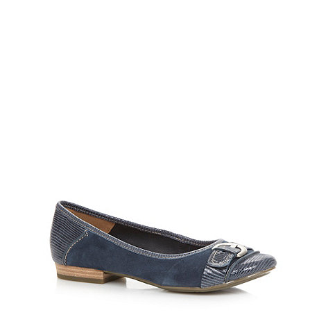 Clarks - Navy +Henderson Ice+ suede leather pumps