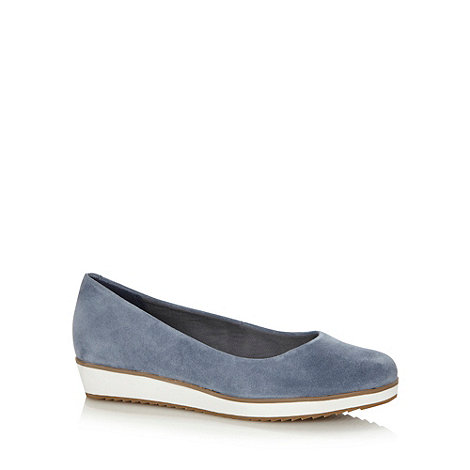 Clarks - Light blue +Compass Zone+ suede leather pumps