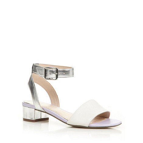 Clarks - White +Sharna Balcony+ mid block heel ankle strap sandals