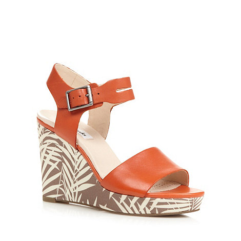 Clarks - Orange +Orleans Jazz+ high wedge sandals