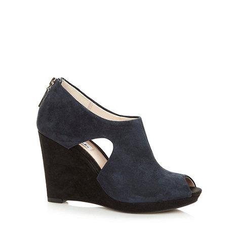 Clarks - Navy +Comet Zoom+ suede wedge shoes