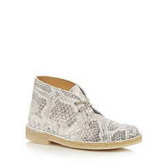 Clarks - Grey 'Desert Boot' snake suede ankle boots