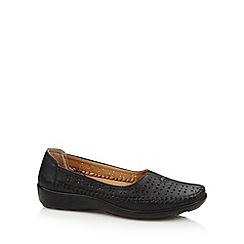 Cushion Walk - Black cutwork slip on shoes