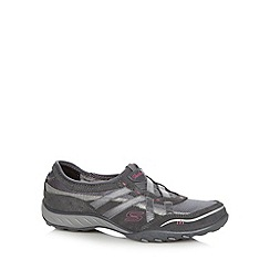 Skechers - Dark grey 'Active Breath Easy' slip on memory foam trainers