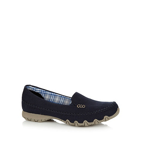 Skechers - Navy +Biker Cross Walk+ slip on shoes