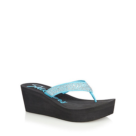 Skechers - Turquoise +Tropicanas+ high wedge heel flip flops