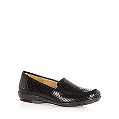 Hotter - Black leather snakeskin slip on shoes