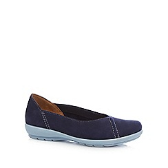 Hotter - Dark blue suede casual stitch pumps