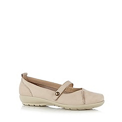 Hotter - Taupe leather cushioned slip on shoes