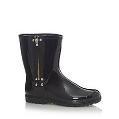 Call It Spring - Black 'Afysa' patent low calf zipped wellies