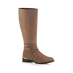 Call It Spring - Taupe 'Afriedda' mid heeled high leg boots