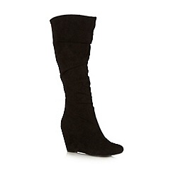 Call It Spring - Black 'Glelida' ruched high leg wedge boots