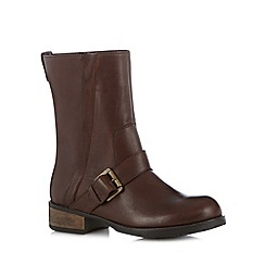 Call It Spring - Brown 'Pryviel' mid heeled calf length boots