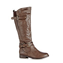 Call It Spring - Brown 'Bawen' high leg buckle boots