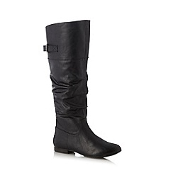Call It Spring - Black 'Rave' ruched high leg boots